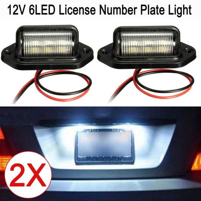 2Pcs 12V LED Number License Plate Light for Car Boats Motorcycle Automotive Aircraft RV Truck Trailer Exterior Lamps