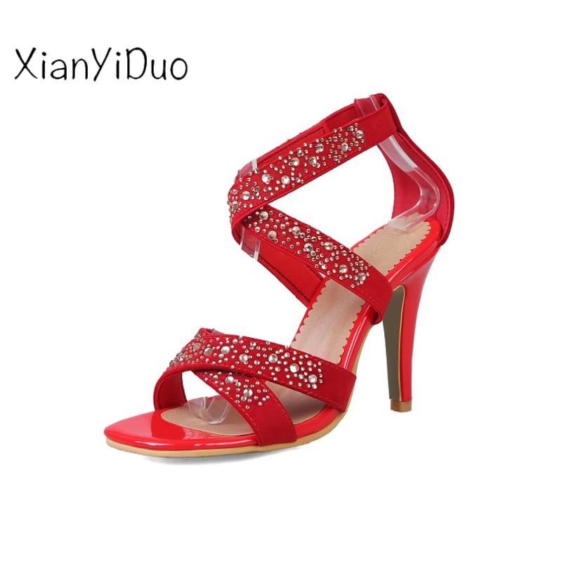 a22 D'été 2019 Ouvert Souliers Plus Femmes Talons Rome 45 0 Cristal Talon chaussures Xianyiduo De À Couvre Size34 Rouge Bout rouge noir Beige Beige Mode Hauts 5qw1x6d