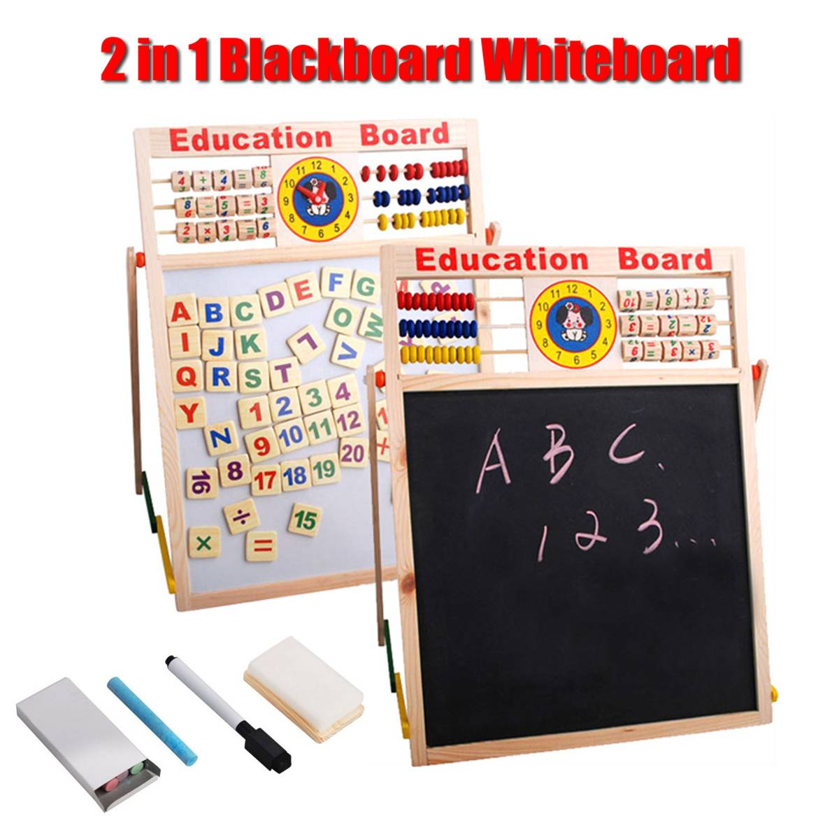 2 In 1 Wooden Blackboard Whiteboard Kit Children Drawing Writing Memo Board Alphabet Number Magnet Chalk Pen Kids Gifts Foldable