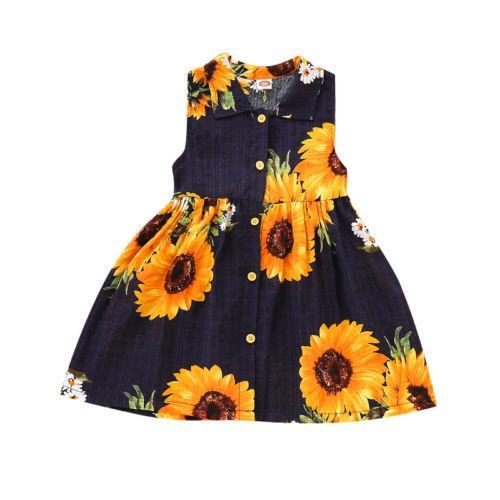 18e0dae94a Toddler Kids Baby Girls Clothes Sunflower Dresses Princess Sleeveless  Summer Cute Dress Clothes Girls 18M-6T