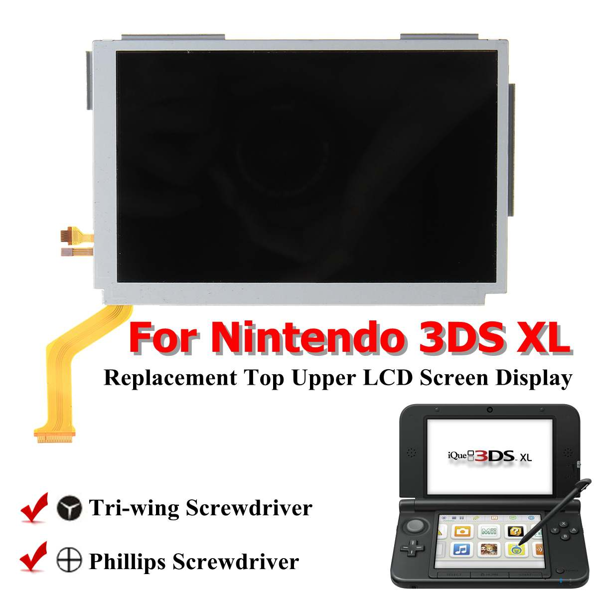 Replacement New <font><b>Upper</b></font> Top Bottom Lower LCD Display <font><b>Screen</b></font> for Nintend NEW <font><b>2DS</b></font> <font><b>XL</b></font> LL Repair Parts Display Panel image