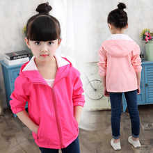 Childrens clothing spring and autumn girls windbreaker 2019 new long-sleeved solid color hooded jacket