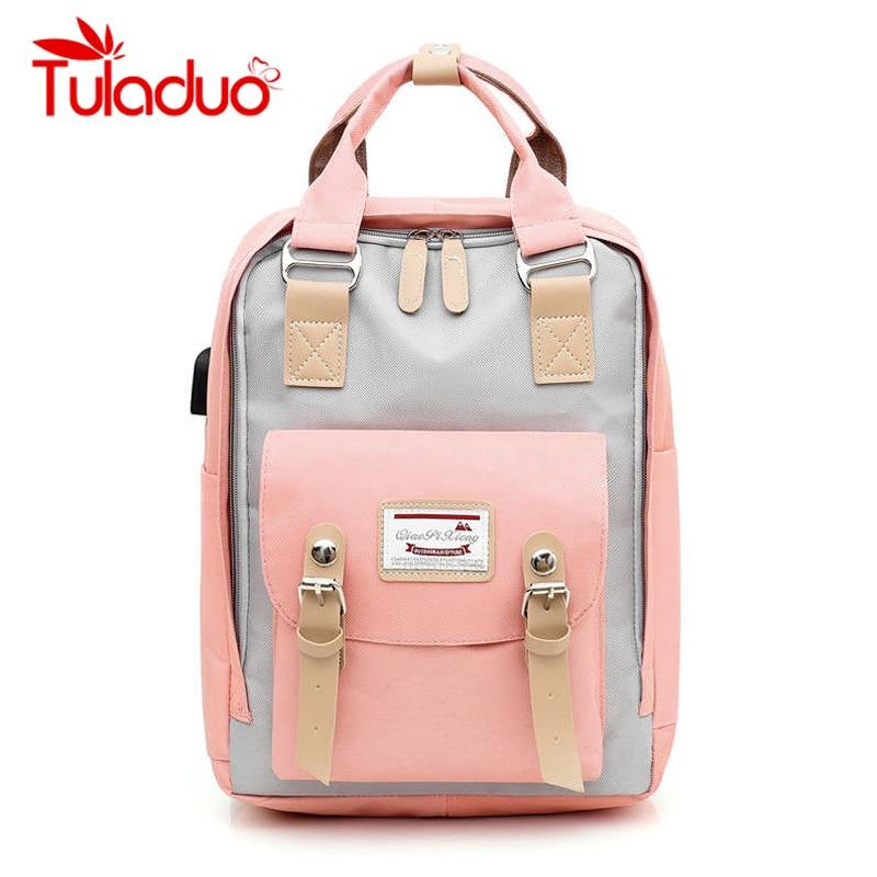 Laptop Rucksack Travel Backpack Shoulder-Bag Canvas Teenagers Girls Waterproof New Women