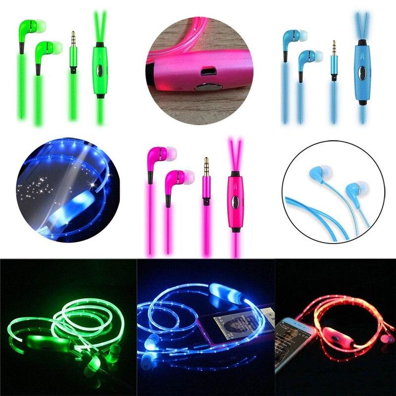 DOITOP 3.5mm Jack Luminous Glowing In Ear Earphone LED Night Light In Ear Earphones Flat Earbuds Glow In The Dark Headset