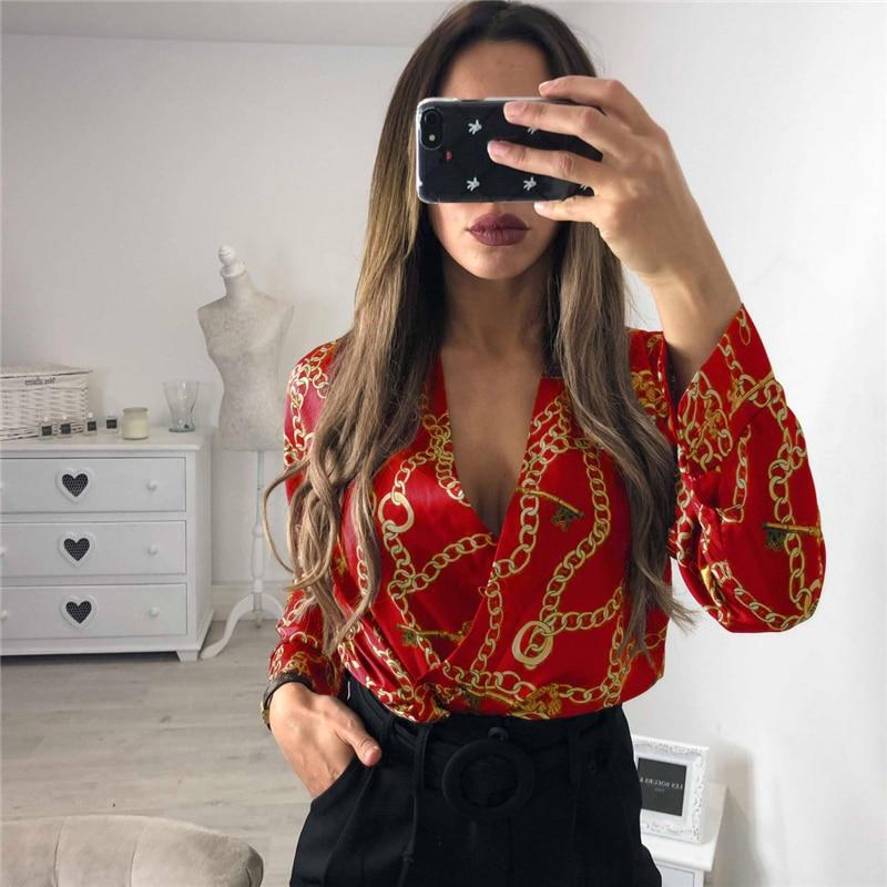 Vintage Silk Rompers Womens Jumpsuit Long Sleeve Chain Print Top Shirt Ladies Deep V Neck Key Printed Sexy Satin Bodysuits