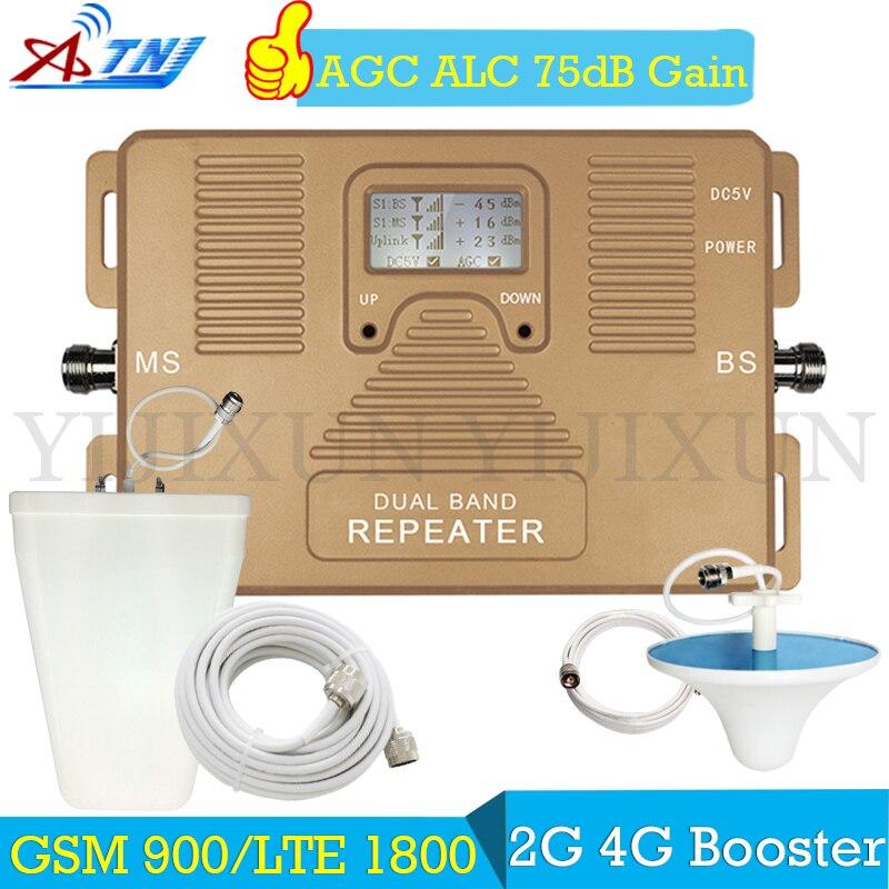 ATNJ double bande 2G 4G 900/1800 répéteur 75dB GSM 900 LTE 1800 amplificateur de Signal de téléphone portable 4G amplificateur de Signal cellulaire antenne 4G