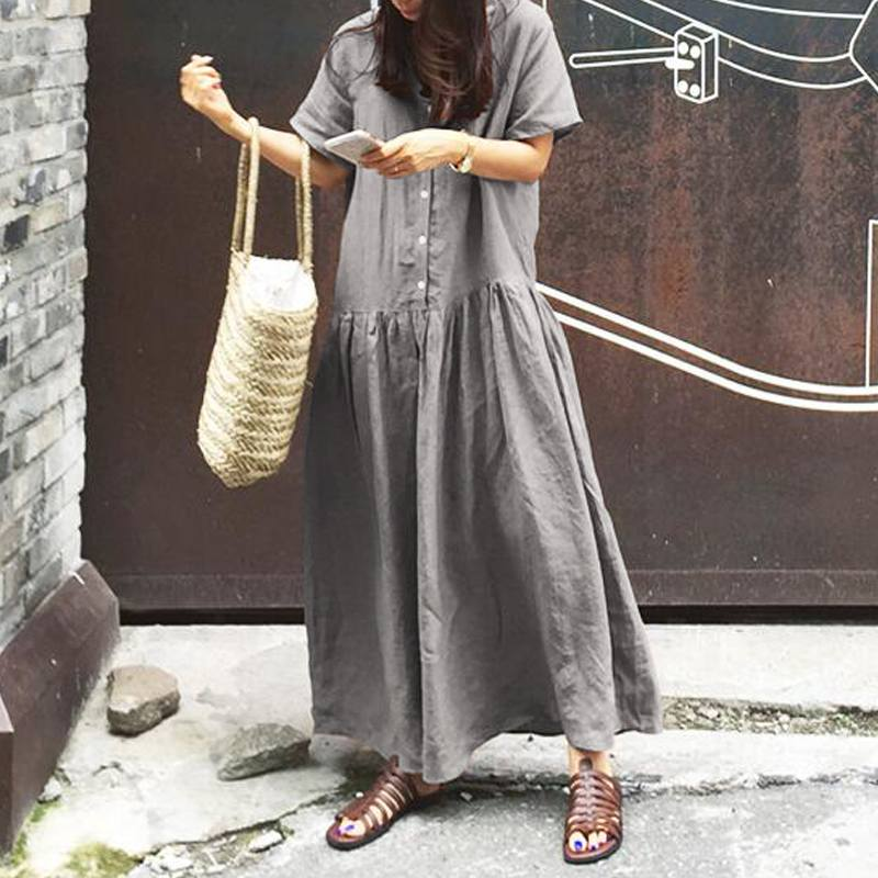 2020 CELMIA Summer Dress Women Casual Button Short Sleeve Solid Dress Long Maxi Dresses Loose Beach Vestidos Plus Size S-5XL