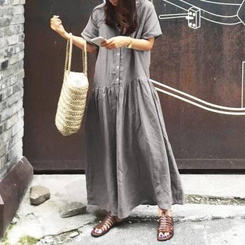 2020 CELMIA vestido de verano Mujer Casual Botón de manga corta sólido vestido largo maxi Vestidos sueltos playa Vestidos de talla grande S-5XL