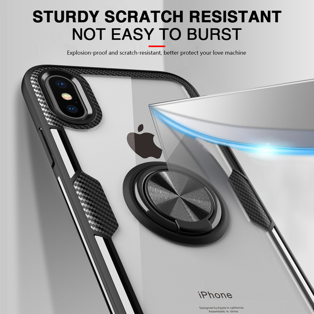 LOVECOM Anti-drop Plain 360 Cases Protector For iPhone XS Max XR XS X 6 6S 7 8 Plus Magnetic Phone Stand Shockfproof Ring Etui 3