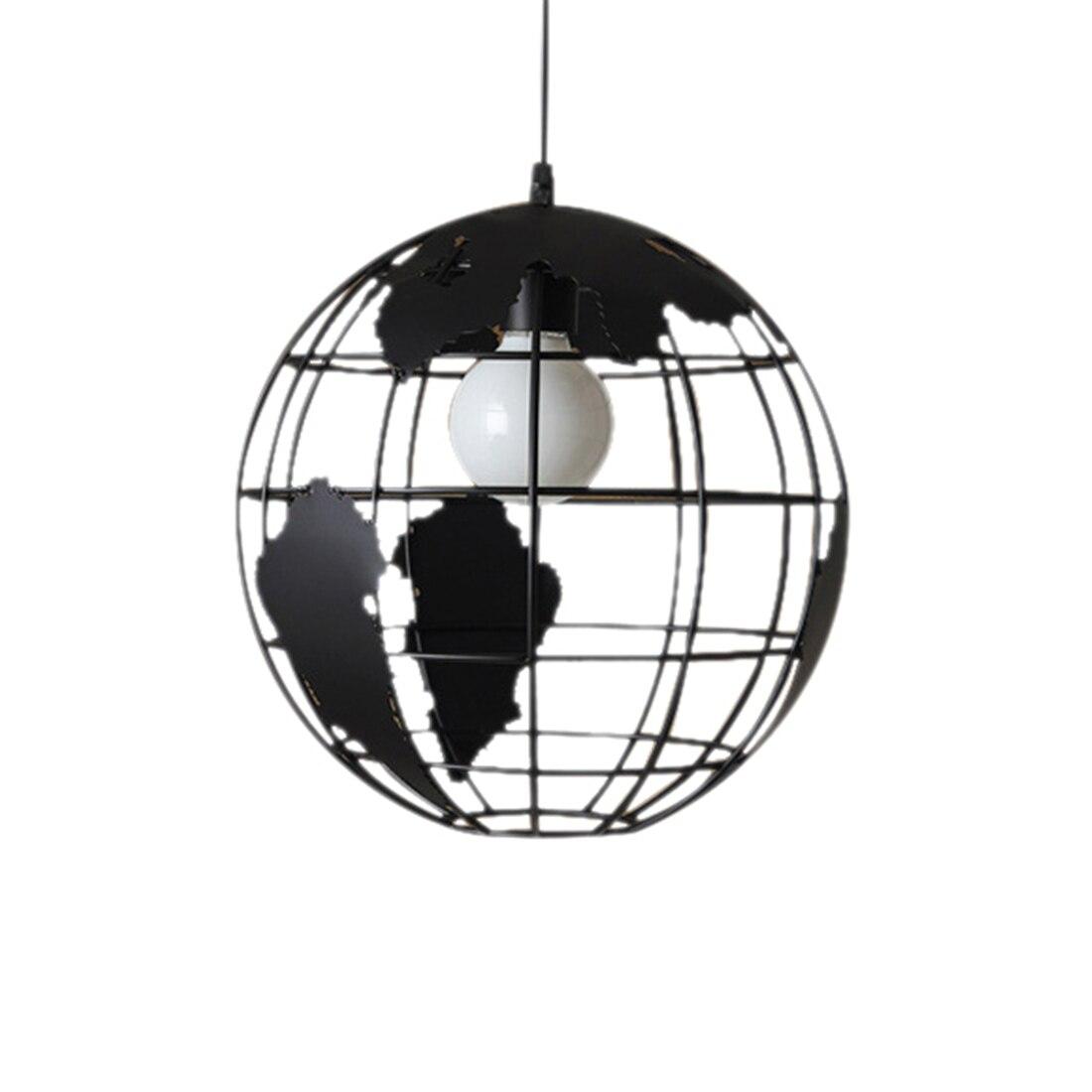 Preto criativo loft continental único globo retro lustre moderno metálico lounge café casual lâmpada do teto