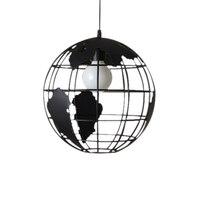 Preto criativo loft continental único globo retro lustre moderno metálico lounge café casual lâmpada do teto Luzes de teto     -
