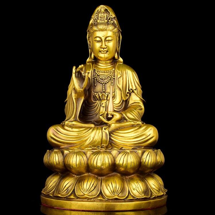 Rame ornamento di Guanyin Bodhisattva Guan yin Buddha santuari culto figura della Misericordia Buddha Avalokitesvara pace statua artigianatoRame ornamento di Guanyin Bodhisattva Guan yin Buddha santuari culto figura della Misericordia Buddha Avalokitesvara pace statua artigianato