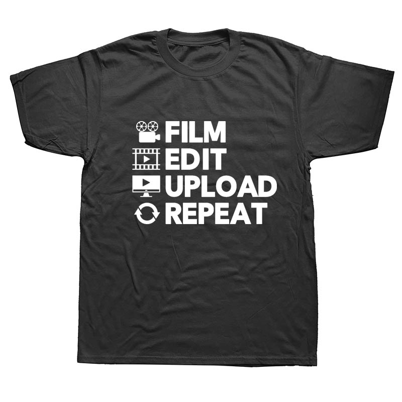 Knowledgeable New Summer Video Editor Uploading Film Editing Funny Slogan Birthday T Shirts Men Short Sleeve Cotton T-shirt Man Clothing Year-End Bargain Sale Tops & Tees