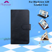 Alesser For Blackview A20 PU Leather Case Flip Wallet Case With Card Pocket For Blackview A20 Phone Cover With Silicone Case(China)