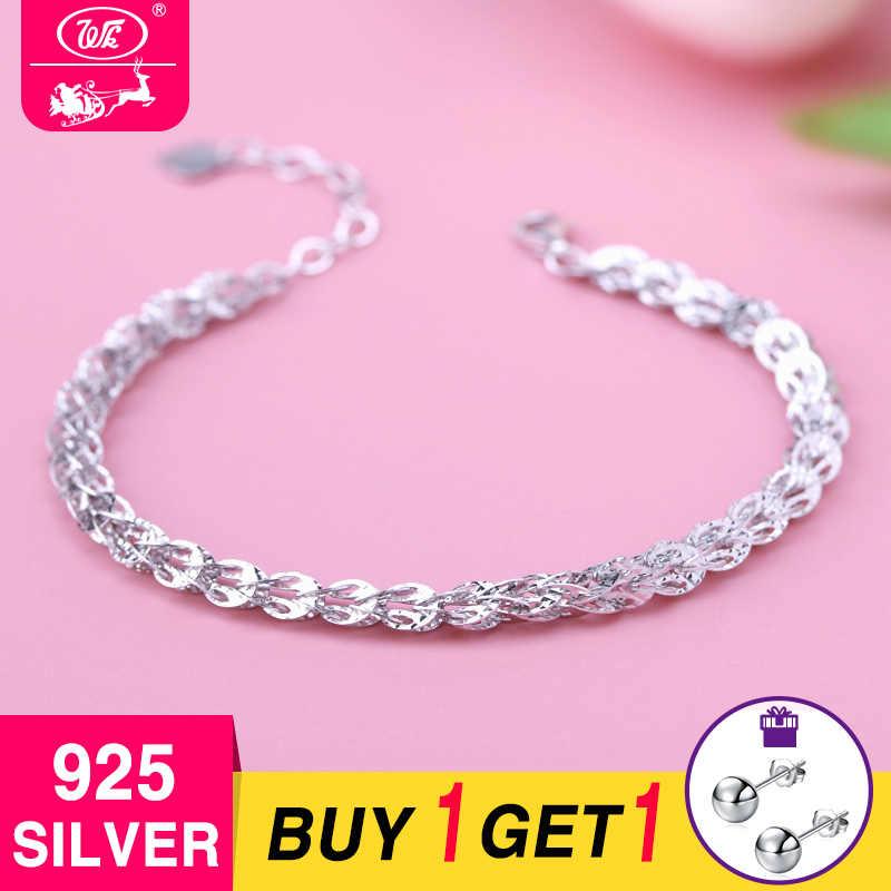 163ecdc7e WK NEW Design 925 Sterling Silver Bracelet Women 4MM Hollow Phoenix Tail  Shape Link Chain Bracelets