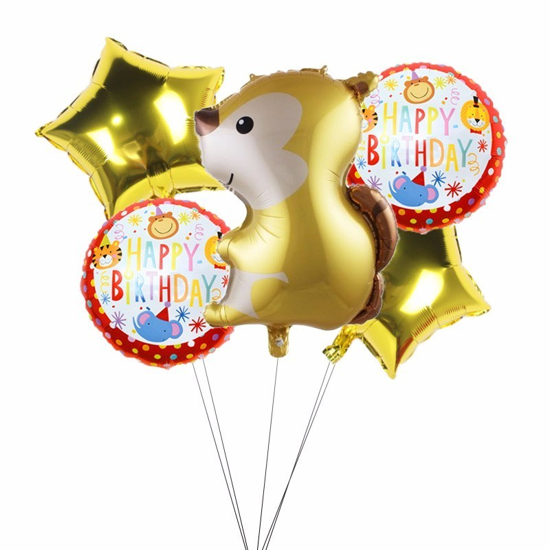 5pcs Large Animal Balloons Fox Hedgehog Raccoon And Squirrel Foil Ballons Happy Birthday Party Decoration Kids Children 39 s Toy in Ballons amp Accessories from Home amp Garden