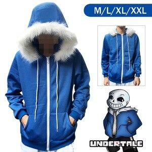 Image 3 - Kid Sans Cosplay Blue Hoodies Coat Unisex Jacket Halloween Cosplay Costumes Hooded Sweater Undertale COOL SKELETON Cosplay
