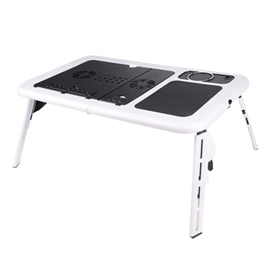 Foldable Portable Laptop Desk Table Stand Bed Tray Dual Fans