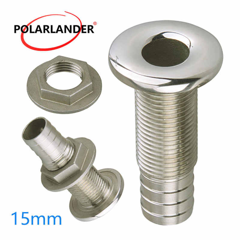 Marine Connector Hose Barb Stainless Steel Drain Pipe Tube 1.5cm Thru Hull Silver 316 Drain Joint Fitting For Boat Yacht  3/8""