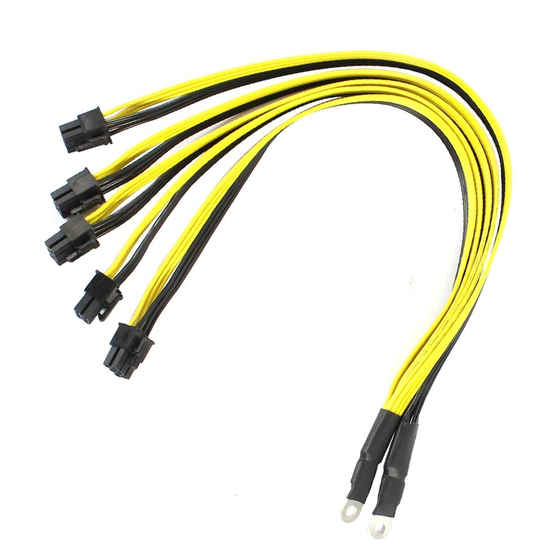 2pcs S7 S9 To 5X PCI-E PCIe 6Pin GPU Graphics Card Splitter Power Cable BTC Miner Bitcoin Litecoin S11 T9+ X10 L3+ A3 A841 M3 P3