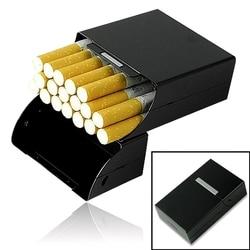 Najlepiej sprzedający się aluminiowy Metal 20 papierośnica zapalniczki magnetyczny zamknięty projekt klamra pudełko tytoniu czarny MD952