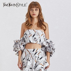 TWOTWINSTYLE Summer Print Shirt For Women Off Shoulder Slim Ruffles Puff Sleeve Crop Tops Female 2020 Fashion Clothes New
