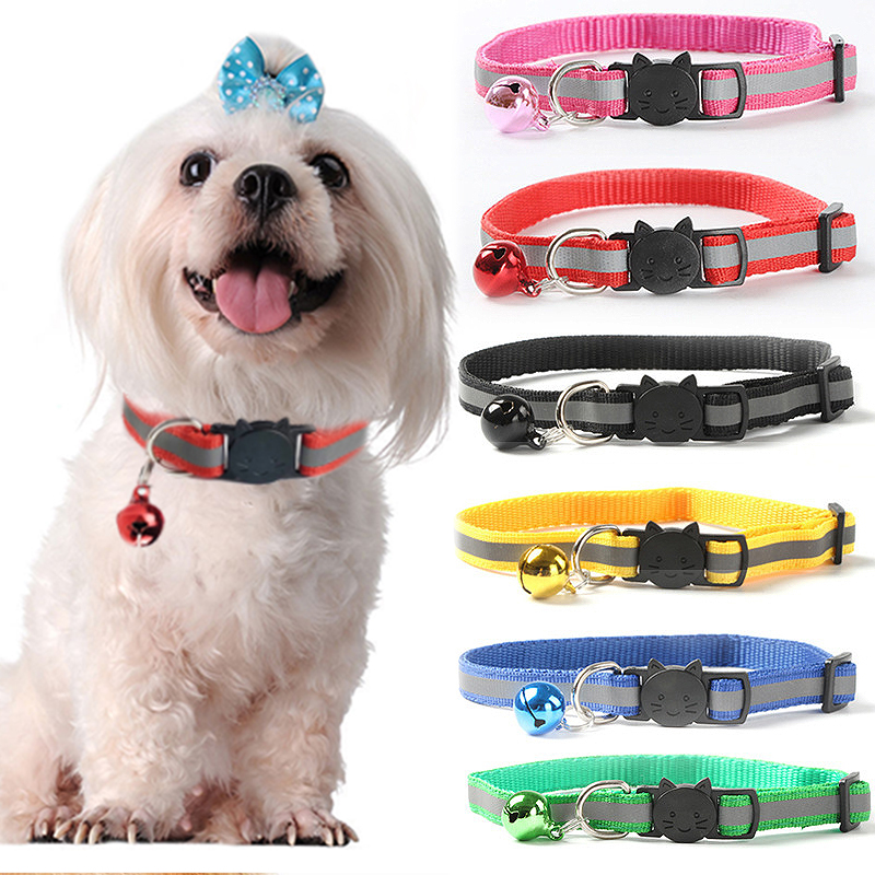 Necklace  With Bell  Night Safety Bright  Reflective Cat Head Safety Buckle 1.0 Collar  Dog Cat Pet Adjuatable  Fashion Nylon