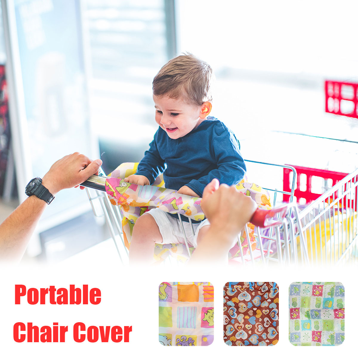 Infant Supermarket Shopping Cart Cover Foldable Baby Seat Pa