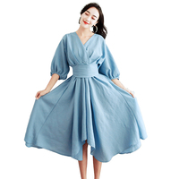 New Spring Vintage Women Long dress V Neck Irregular Aristocratic Atmosphere Dresses Light Blue 1308