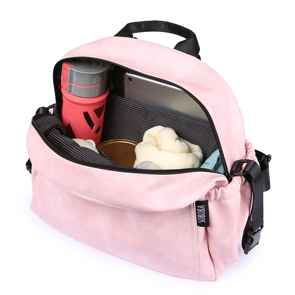Image 3 - New Fashion Diaper Bag for Mother Pink Large Capacity Solid Baby Bag Backpack with 2 Straps Stylish Maternity Nappy Changing Bag-in Diaper Bags from Mother & Kids