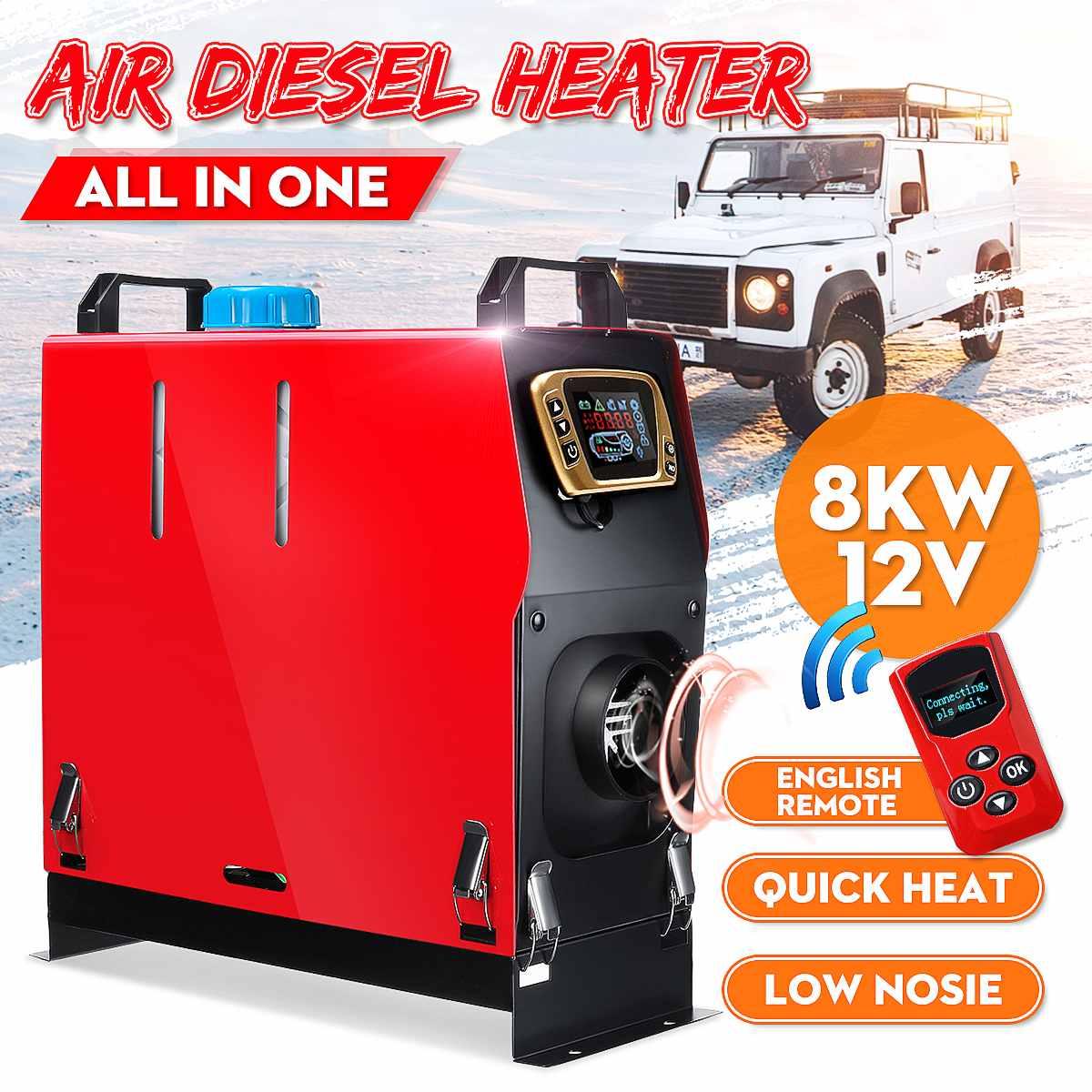 Réchauffeur diesel détachable de 8KW 12 V tout en un réchauffeur de stationnement d'air de carburant + commutateur d'affichage à cristaux liquides d'or + télécommande anglaise pour le Van de bateau de camion d'autobus