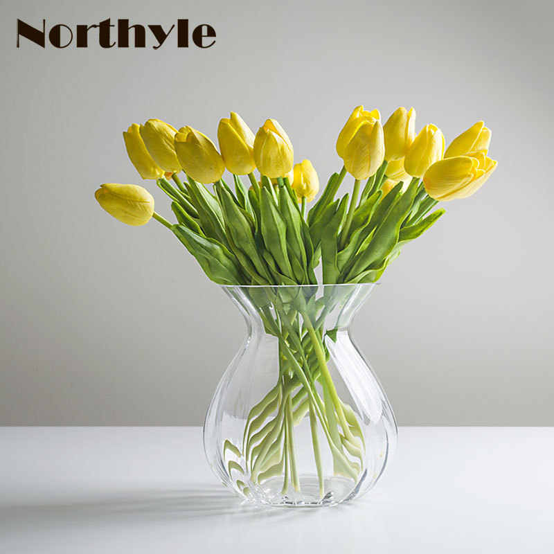 Simple Gl Flower Vase Clear Artificial Tulip Flowers Bottle Home Decoration For Wedding