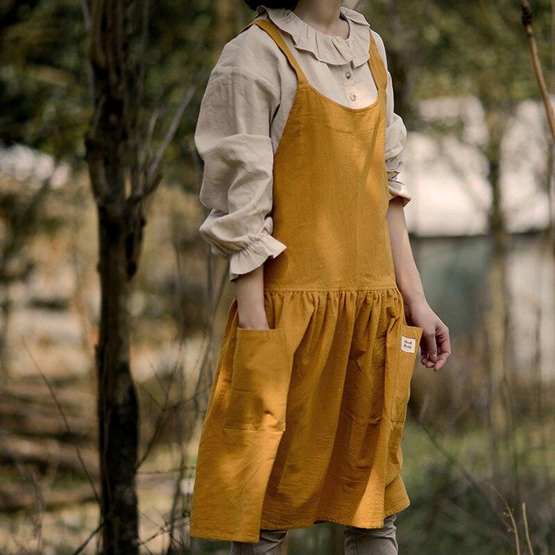 Image 3 - Red Pink Yellow Cotton Linen Apron Florist Artist Painter Craft Work Wear Waitress Barista Pastry Catering Event Uniform D88Aprons   -
