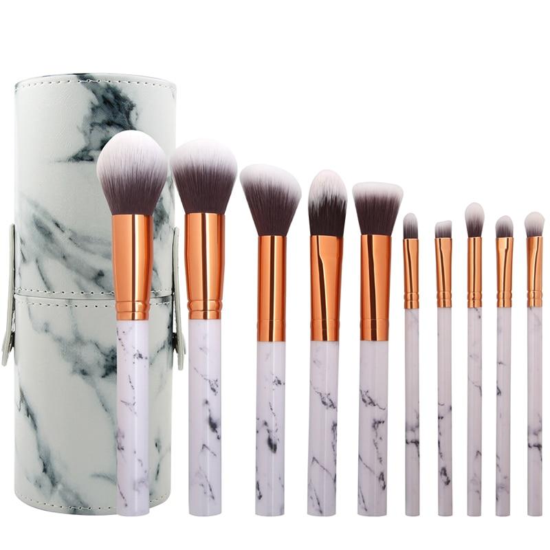 10 pcs Profession Cheveux Doux Maquillage Buissons avec Boîte Marbre Texture Poignée Poudre Fondation Blending Brush Ensembles Pincel Maquiagem
