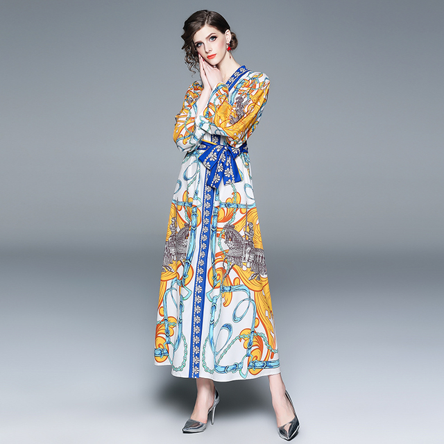 US $24.59 40% OFF|2019 Spring Summer Women Plus Size Runway Dress Laces  Chains Angels Long Sleeve Maxi Dress White Blue Gold Print Horses  Soldiers-in ...