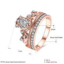 Princess Crown Diamond Ring Luxury 18K Rose Gold Bizuteria For Women's Wedding AAA Crystal Ring anillos de Jewelry Diamante 2019(China)