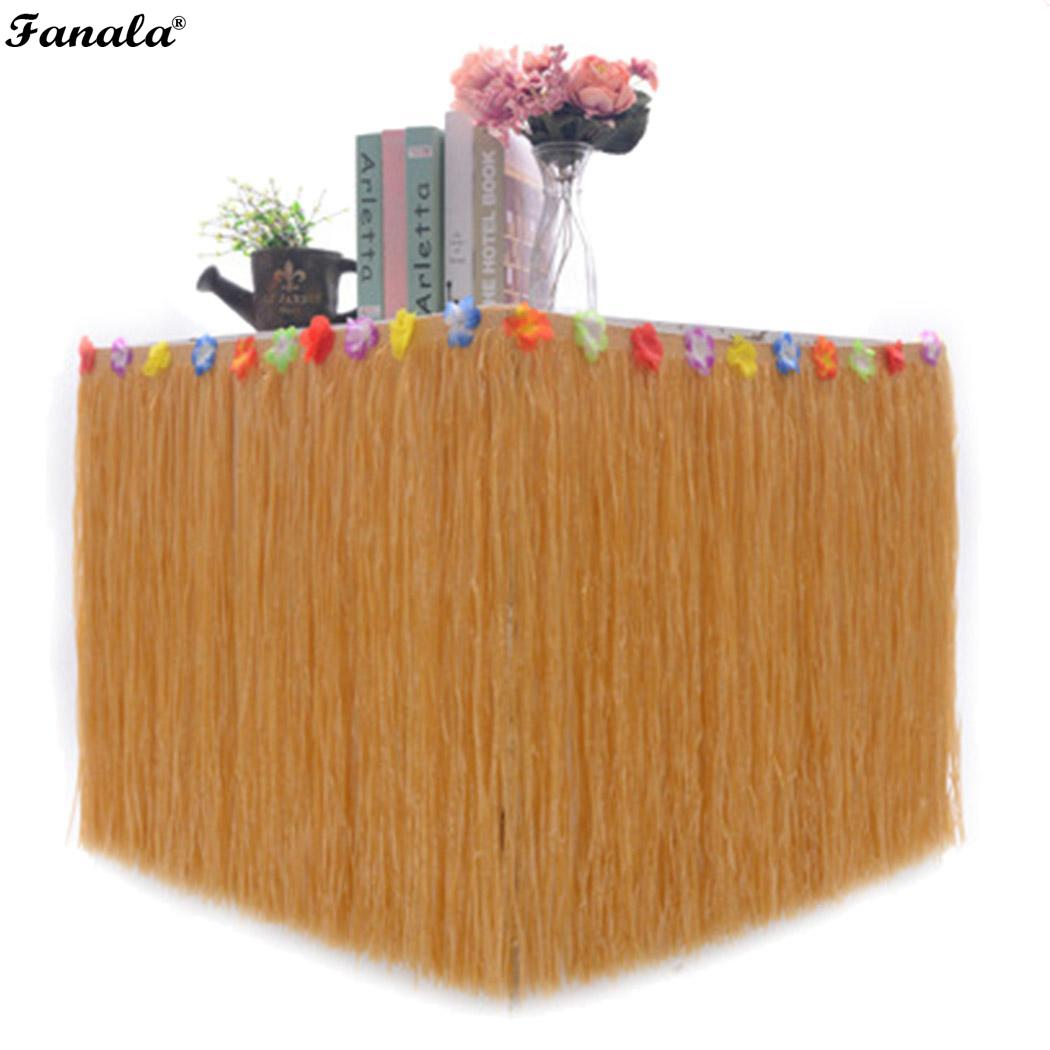 Dependable Table Skirt Hawaiian Luau Flower Grass Garden Wedding Party Beach Decor Khaki Discounts Sale Home & Garden