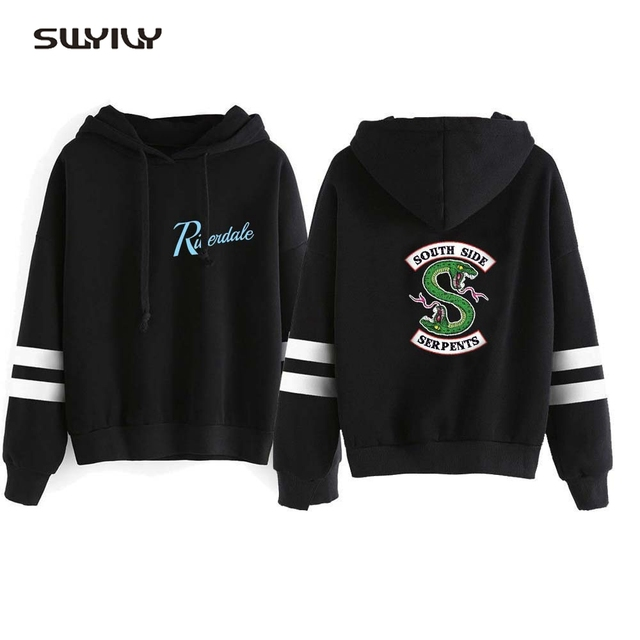 SWYIVY RIVERDALE Women's Hooded New Plus Velvet Winter Fashion Famele Casual Pullover Hooded Sweatershirt Serpents Green Snake