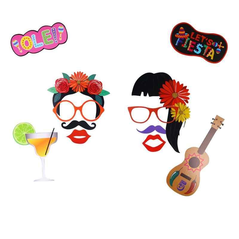 45 Pcs Dekorasi Kreatif Lucu Meksiko Partai Prop Warna-warni Prop Carnival Photo Prop untuk Pesta Festival Mengumpulkan