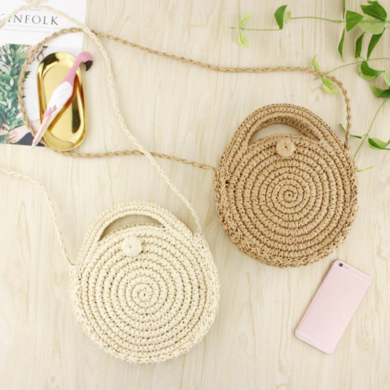 INS New Ladies Hand woven Bag Round Rattan Retro Literary Hand woven Package Bohemia Beach Messenger Bag Household Storage Bag in Storage Bags from Home Garden