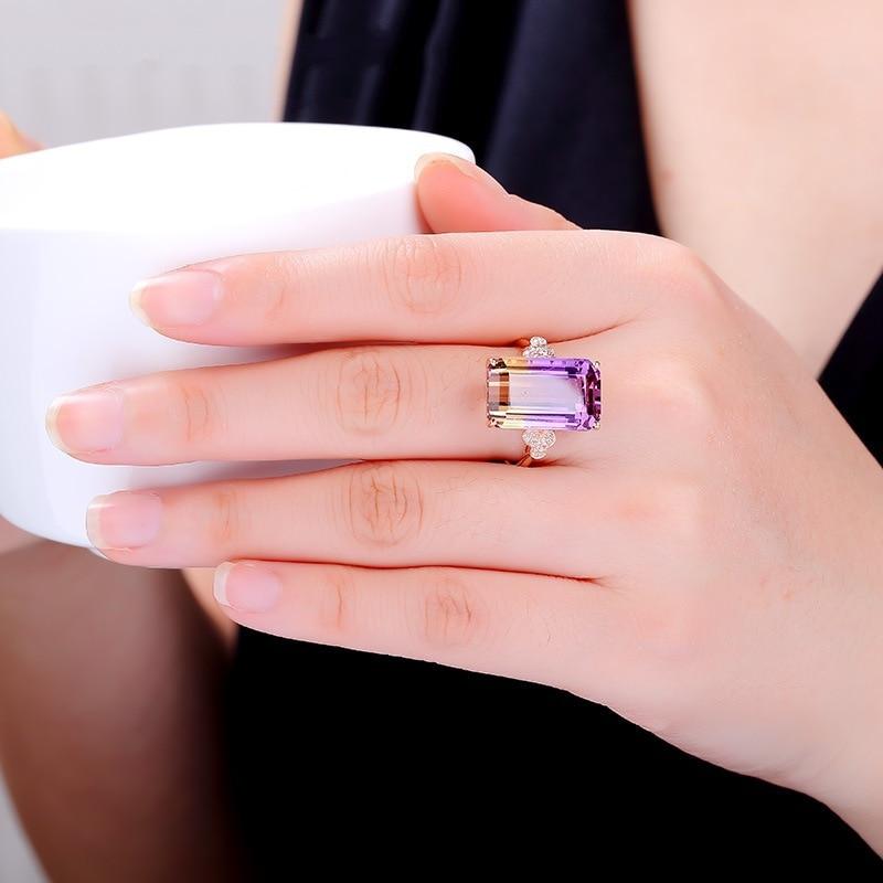 Bijoux en or 14K Bague en diamant Anillo De Bague ou grenat Jaune Bizuteria pour femmes