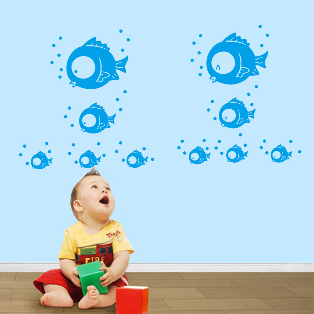 Decorate bubble fish sea art wall sticker decoration Decals mural painting Removable Decor Wallpaper LF 1831 in Wall Stickers from Home Garden