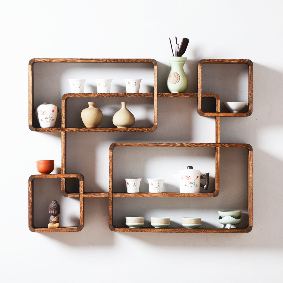 Wood Wooden Wall Mounted Vintage Retro Rack Hooks Floating ...