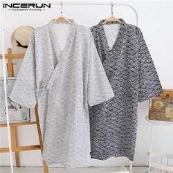 2019 Harujuku кимоно халат мужской банный халат Японии Стиль Loungewear Ночное мужской халат пижамы купальный костюм платье одежда для сна