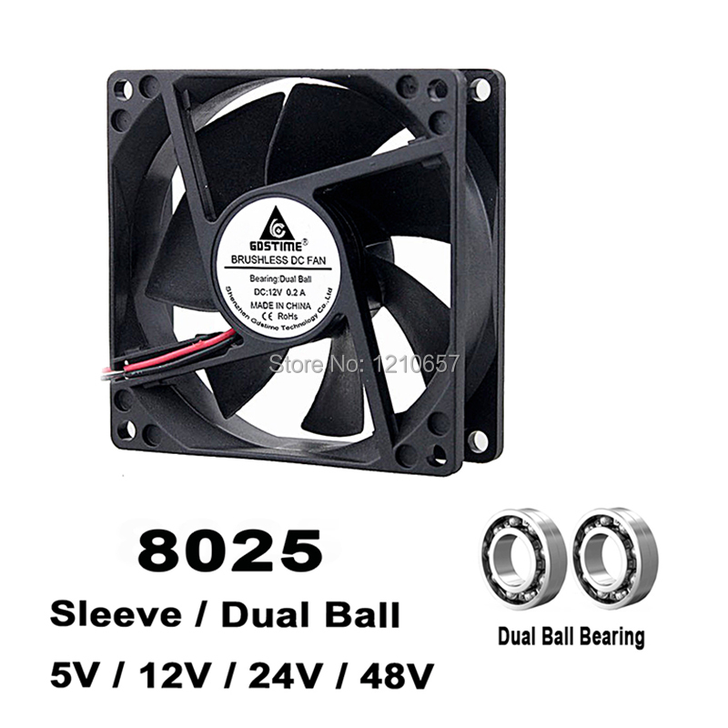 Aexit DC Brushless Electrical equipment 2 Wires Case Cooling Blower Fan 50x50x15mm Black DC 24V 2Pcs