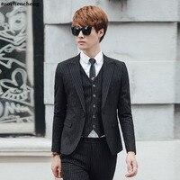2019 корейский стиль мужской костюм полосатый дизайн черный мужской костюм с брюками жилет Мода Slim Fit Foraml повседневные костюмы для мужчин M 3xl