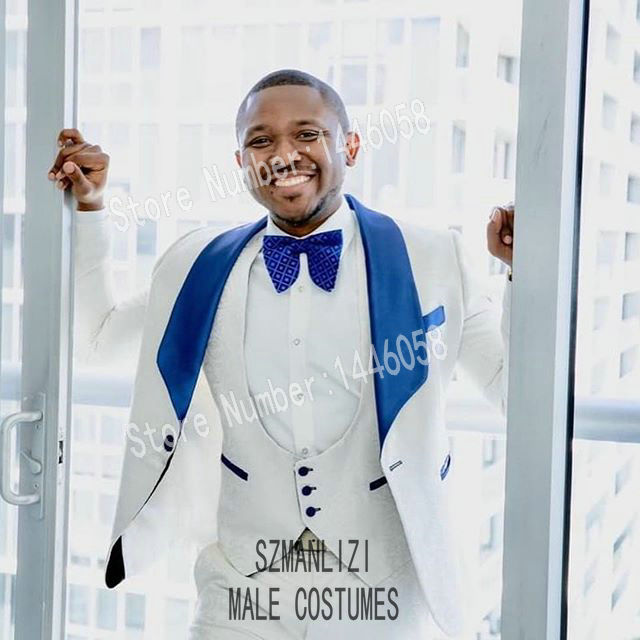 Men Suits For Wedding 2019 Custom Made Royal Blue Lapel White Paisley Wedding Party Suits Groomsmen Groom Mens Tuxedo Bridegroom