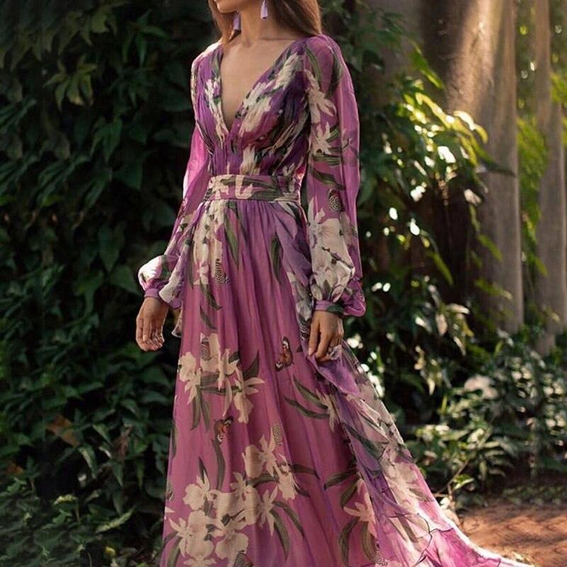 Вечерние элегантные длинные платья женские весенние Длинные рукава длиной до пола Глубокий V сексуальный вечерний халат цветочный принт фи...