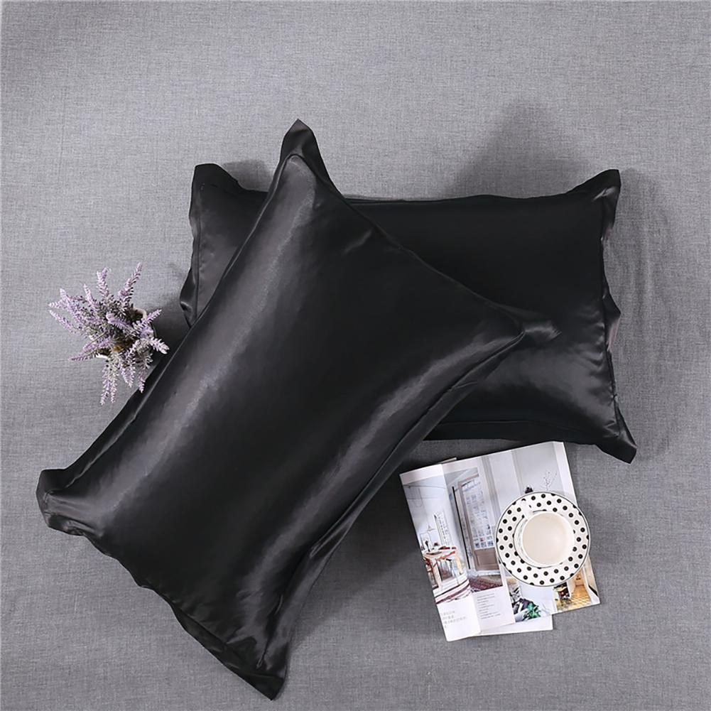 2Pcs Solid Color Simulate Silk <font><b>Pillow</b></font> <font><b>Case</b></font> Cover Luxury Comfortable Single Polyester Pillowcase 50*76cm Home Bedding Textiles image