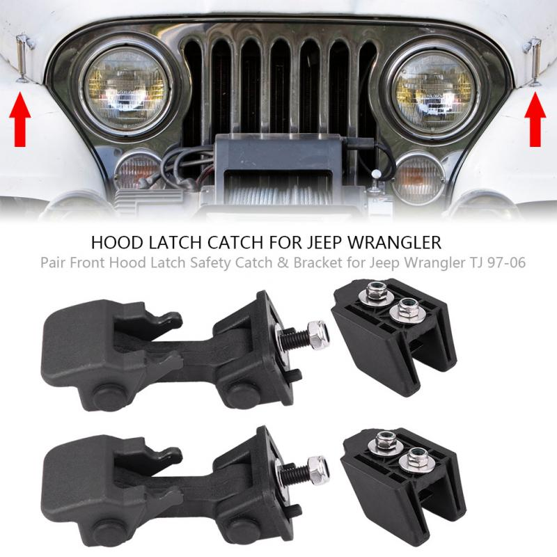 New Pair Hood Latch Catch /& Bracket for 1997-2006 Jeep Wrangler TJ 2pcs Set